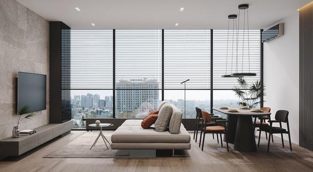 房子装修,客厅餐厅厨房一体化设计,光线通透明亮