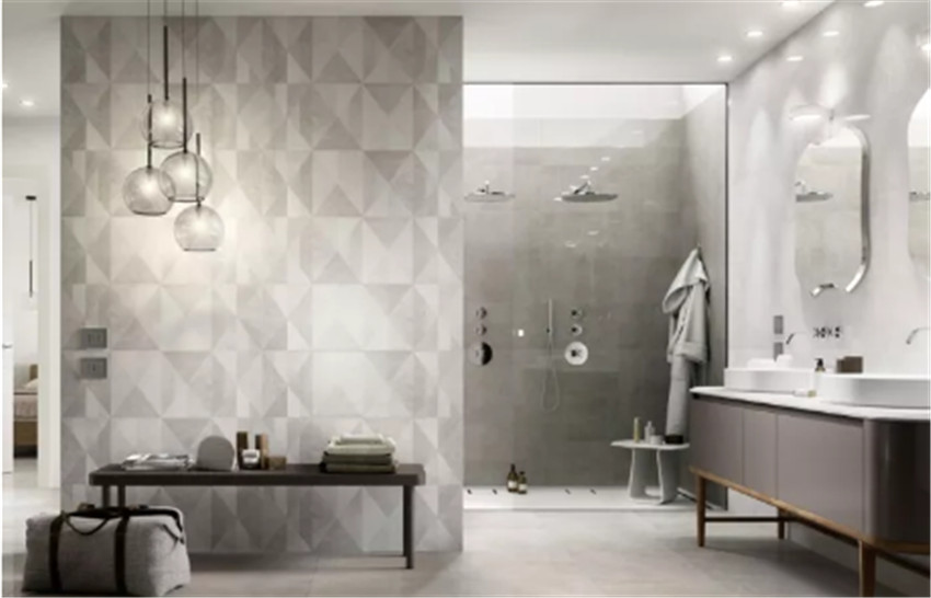 卫生间瓷砖铺装方式 通铺不流行了给它加点颜色个性又好看